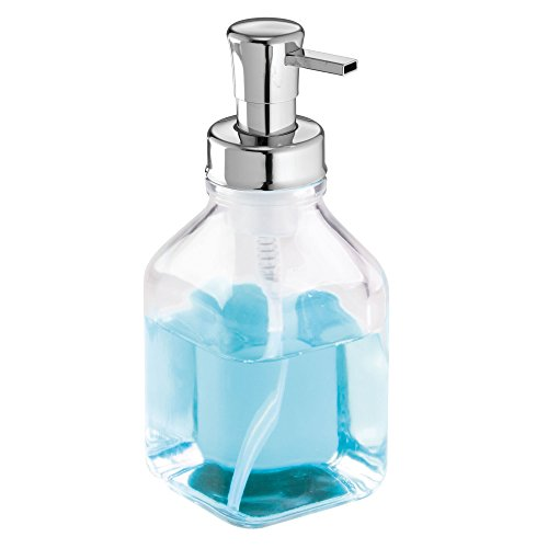 mDesign Foaming Soap Dispenser - Refillable and Transparent - 553 ml Volume - Ideal as a Lotion Dispenser Or Foaming Hand Wash Dispenser - Made of Glass