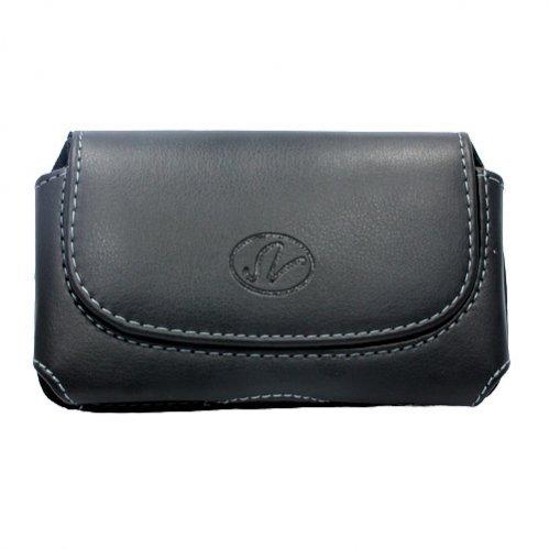 Schwarz Leder Holster Schutzhülle Seite Tasche mit Gürtelclip und Schlaufen für TracFone LG 800G-TracFone LG 840G