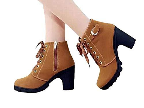 JOYTO Femme Bottines a Talon Plateforme Velours Lacet Cuir Basse 8 CM Hiver Automne Fashion Elegante Confortable Boots avec De La Fourrure Kaki 37