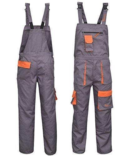 Norman grau Kontrast Maler Arbeitskleidung Latz und Klammer Overall OVERALL dungaress Schwerlast - grau, Large