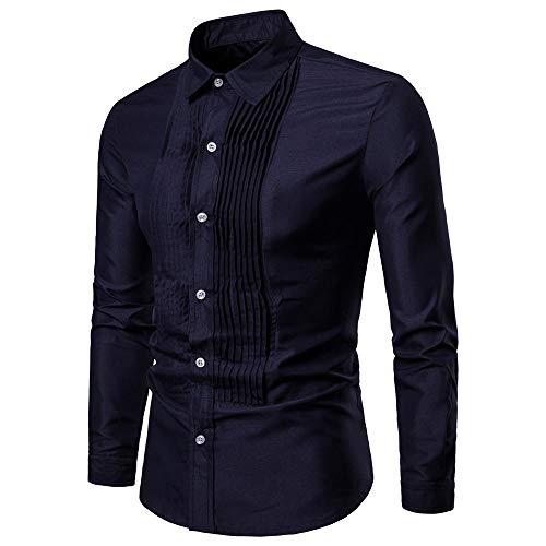 67f128192a8e shemd Herren Shirt Langarmhemd Cowboy-Style Freizeit Hemd männer Kent-Kragen  (Marine,