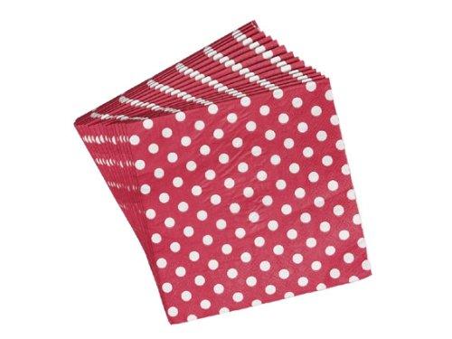Shabby Chic Landhaus Stil Papierservietten Servietten Punkte Rot Weiß (WK15)