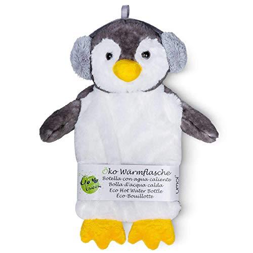 Öko Pinguin Kinder Wärmflasche 1 Liter mit schönem weichem Kunstpelz Bezug - Modell 2019