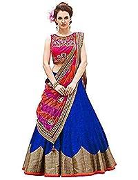 Pramukh Fashion Women's Semi-Stitched Lehenga Choli(Blue Roza)