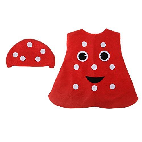 Descripción:       - Material: tela no tejida    - Precioso disfraz de hongo de una sola pieza, viene con sombrero rojo, cubierto / medio cuerpo cubierto    - Especialmente diseñado para niños, adecuado para niños y niñas, apto para la altura...
