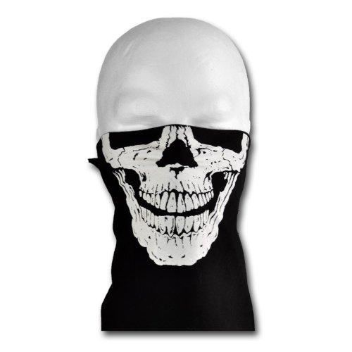 WINDMASK Biker Face Bandana mit Klettverschluss - Skull Face 2 Totenkopf, Größe:L - Kopfumfang 50-65 cm;Variante:ohne Nasenbügel