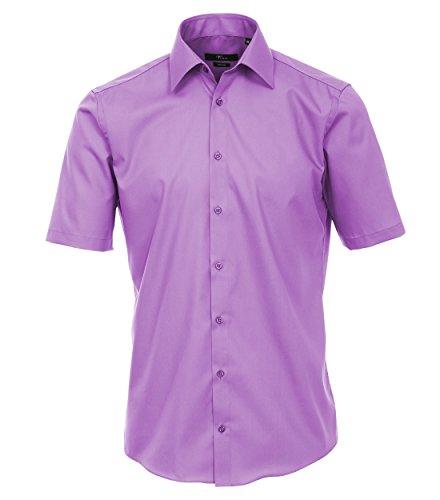 Venti - Slim Fit - Bügelfreies Herren Kurzarm Hemd in diversen Farben (001620 A) Lila (900)
