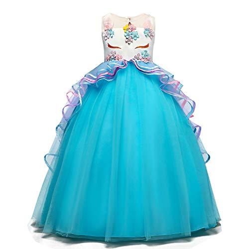 Ttyaovo vestito da cerimonia nuziale delle ragazze degli abiti da ballo della principessa pageant delle ragazze ricamati taglia(150) 8-9 anni 07 blu