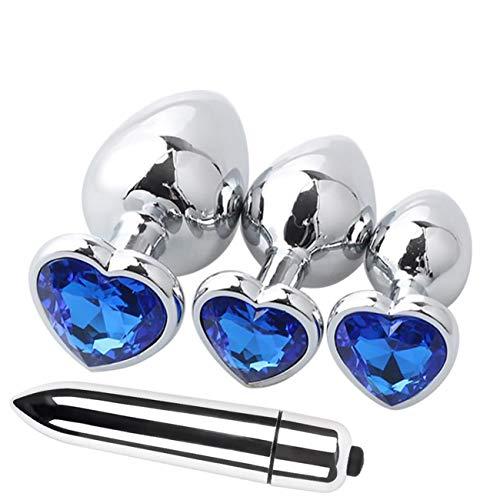 CYBERRY.M Femme 4 PCs Base en Forme de Coeur avec des Bijoux de Naissance Plugs Anal Mini Jump Pouces Lavement (Bleu)