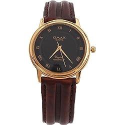 Omax Unisex Gold Bezel Dark Brown Leather Strap Watch Analog Quartz Extra Battery