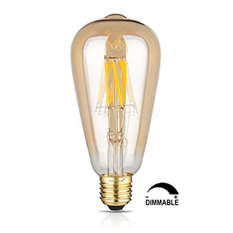 TAMAYKIM ST64 8W Dimmable Edison Style Vintage LED Filament Light Bulb, 2700K Warm White 800LM, E27 Base Lamp Gilded Glass Cover, 80W Incandescent Replacement
