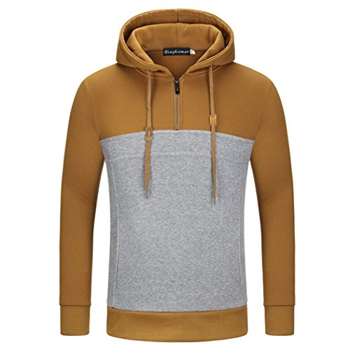VENI MASEE Herren Color Stitching Taschen Pullover Outdoor Sweater mit Kapuze(M-3XL) Tan