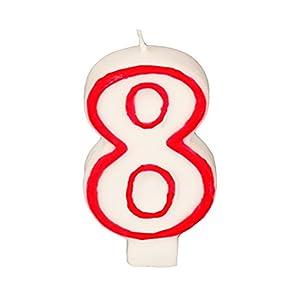 Partygram - Vela de Cumpleaños Número 8 - Blanca con Filo Rojo