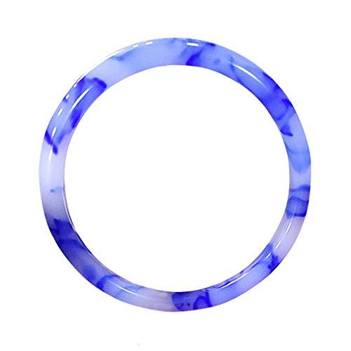 KALRTO Natürliche Schwimmende Jade Armband, Handgemachte Blaue Und Weiße Porzellan Streifen Armband, Mode Damen Geschenk 57-58mm - Kobalt-blauer Streifen