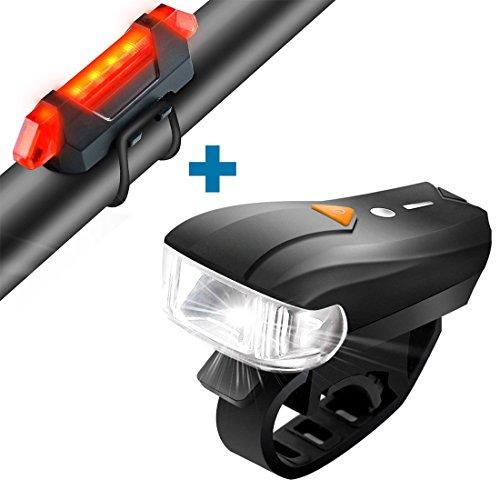 LED Fahrradbeleuchtung Set Fahrradlampen Fahrradlicht mit Lichtsensor, USB Aufladbar Fahrradlampe Set inkl LED Frontlichter und Rücklicht,5 Modi, Super hell mit Wasserdicht (2 USB-Kable)