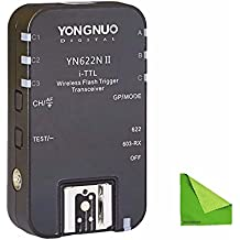 YONGNUO 1pcs Single YN-622N II RX TTL Wireless Flash Trigger Receiverfor Nikon D800 D700 D600 D610 D300 With EACHSHOT Cleaning Cloth