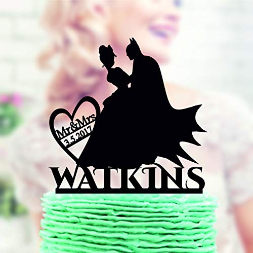 it Prinzessin Tiana Topper Batman Hochzeit Cake Topper Batman Silhouette Cake Topper mit Datum Super Hero Topper ()