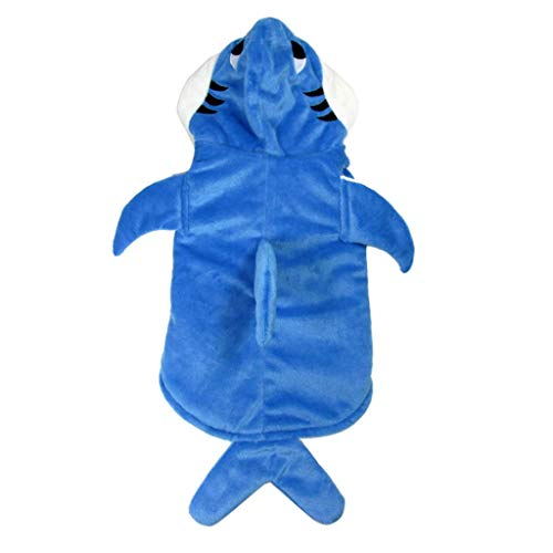 perfk Fisch Design Hundemantel Kapuzenjacke Hunde Hoodie Haustier Cosplay Kostüm für Halloween Party - Blau Haifisch, L