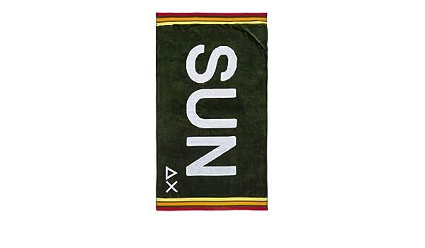 SUN68 X19110-19 Beach Towel Logo Telo Mare 100/% Cotone Military Green