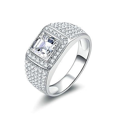 Gnzoe Argent 925/1000 Bague Homme Bague de Mariage Engagement Anneau Zircone (Primo Uomo A Piedi Luna)