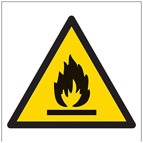 vsafety 61020at-s Warnung brennbar Logo Achtung Logo Schild, selbstklebend, quadratisch, 200mm x 200mm x 200mm, schwarz/gelb
