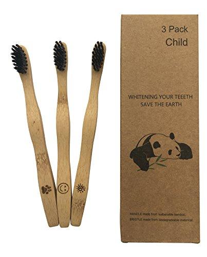 Kinder Bambus Zahnbürsten 3 Stück Set mit Bambusholz Griff und weiche Bambus-Aktivkohle Borsten 100% Recycleable Umweltfreundlich