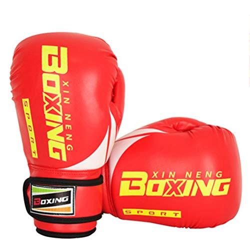 Wettbewerb Ebene Boxhandschuhe für Kinder 6 Unzen 8 Unzen Lederhandschuhe MMA Boxsack Muay Thai Kampfkunst-Ausbildung,Rot,6oz -