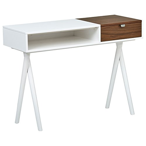 Marca Amazon - Rivet - Escritorio madera lacado blanco