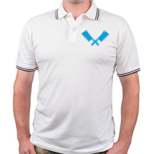 Männer und Herren POLO Shirt Seine Exzellenz DER KOCH (mit Rückendruck) Weiß/Schwarz