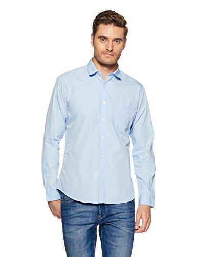 Van Heusen Sport Men's Plain Slim Fit Cotton Casual Shirt (VSSF318S008030_Blue_44)