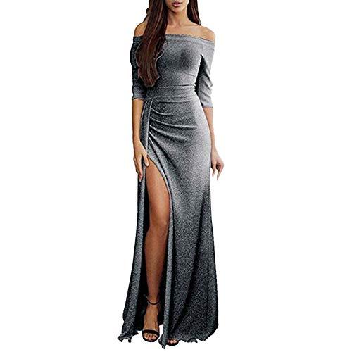 Glücklich Zwerg Kostüm - Zottom One-Shoulder-Tasche hip offenes Abendkleid Abendessen Frauen Schulterfrei Kleider High Split Maxi Lange Abendkleider
