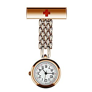 CestMall Krankenschwesternuhr, Anstecknadel, Ansteckuhr, Arzt, Sanitäter, Brosche, Taschenuhr, Quarzuhrwerk, Krankenschwesternuhr, mit Geschenk-Box