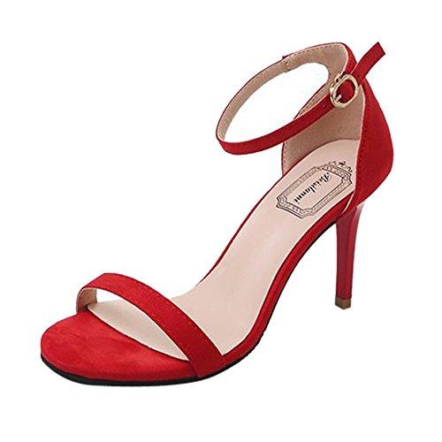 NMERWT Frauen Knöchelriemen High Heels Offene Zehensandalen Hohe Stiletto Pumps mit Absatz Damen Party Schuhe Pumps Peep Toe Schuhe (EU:38/CN:39, Z3-rot)