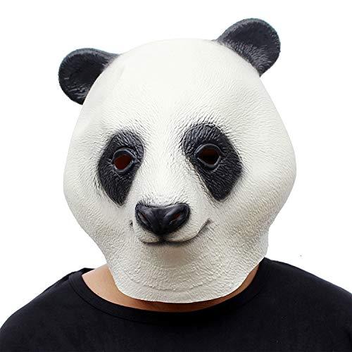 AKCHIUY Panda Latex-Maske, Perfekt Für Fasching, Karneval Halloween - Kostüm Für Erwachsene - Latex Voller Kopf Masken,White-OneSize