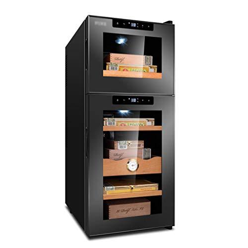 GXFC Doppelte Temperaturzone Zigarre/Wein kühler, Zigarren Humidor, Weinkühlschrank, Touch-Temperatursteuerung, Ruhiger Betrieb Kühlschrank, Buche/Zedernholz Regal