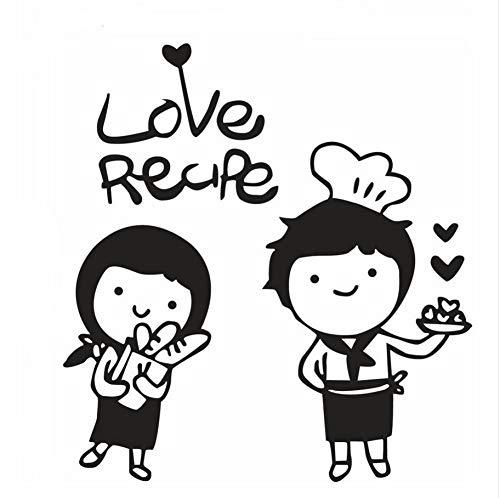 Zybnb Cute Chef Boy Gril Vinyl Wandaufkleber Love Cook Love Rezept Wandtattoo Küche Dekor Chef Wand Poster Tür Fenster Aufkleber 57X61Cm