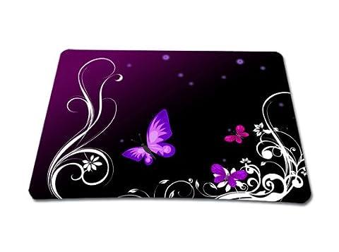 Mousepad mit Motiv / Design Mauspad farbig für alle Maustypen, wortek Mausunterlage Muster Schmetterling Lila Schwarz