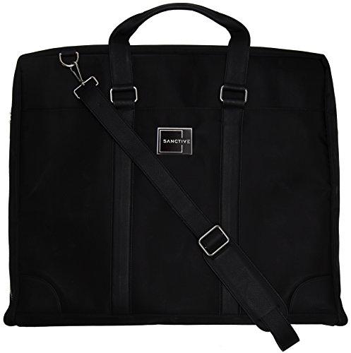 SANCTIVE Anzugtasche Kleidertasche Business Reise | Herren Anzug Tasche Kleidersack Anzugkoffer Handgepäck | Anzugsack faltbar, schwarz