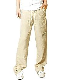 Pantaloni Uomo Casual Pantalone di Lino Traspirante Vita Elastica per Corso Spiaggia Outdoor