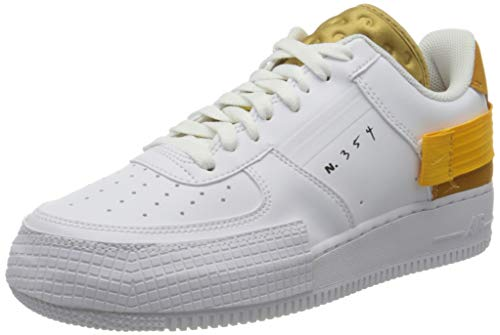 Nike af1-type, scarpe da basket uomo, white/university gold/gold suede
