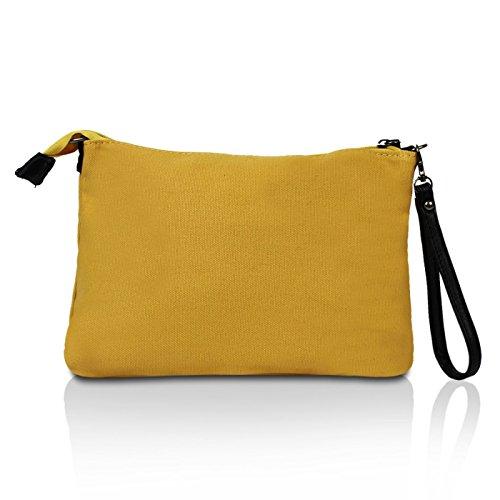 Glamexx24 Borsa a tracolla in stoffa borsa a mano e spalla con una bella stella Giallo