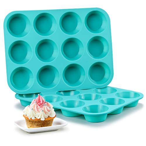 Silikon-Muffinformen-Set - Cupcake-Formen 12 Cupcake-Formen, BPA-frei, 100{5cbc61919c77bb0b202f98ec45138cf3f2cdebb1de2e36dbf1cd922287519670} Lebensmittelqualität, Pinch-Test geprüft, 2 Stück