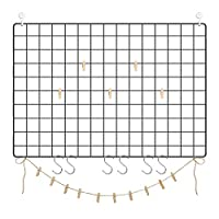 SONGMICS Grid Panels, Set of 2, Photo, Metal Mesh Decor, Multifunctional Hanging Picture Wall, DIY, Art Display, S Hook, Clips, Hemp Cord, Black ULPP02H, Small Oversize