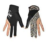 XiuZP 3 Finger Billardhandschuhe, Pool Queuehandschuhe zeigen Handschuhe für Billard-Shooter (Paar) für Frauen (Color : Multi-colored, Size : M)