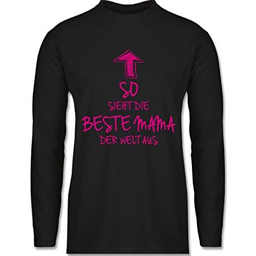 Geburtstag - So sieht die beste Mama der Welt aus - Longsleeve / langärmeliges T-Shirt für Herren Schwarz