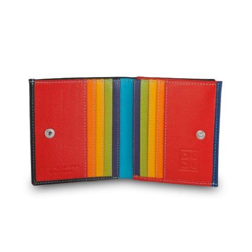 Portafoglio di pelle multicolore porta carte e monete di DUDU Nero