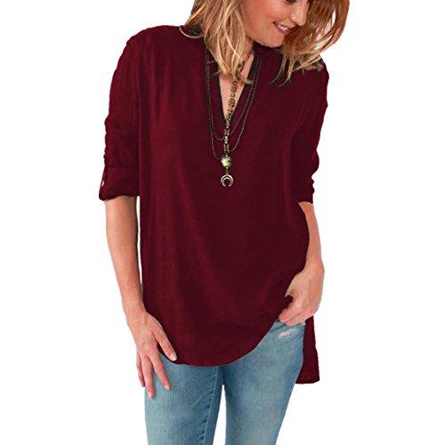 ASCHOEN Damen Casual Bluse Chiffon Hemd T-shirt Oberteil Tops Weinrot