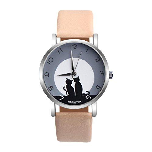 PLOT Damen Quarzuhr Mit Lederarmband | 2018 Hot Sale Katzen Drucken | Armbanduhren Für Frauen | Geschenke Für Frauen | Einstellbar Uhrenband | Quarzwerk | 20mm Bandbreite | 38mm Gehäusedurchmesser (F)