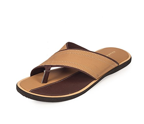 Khadim's Men's Khaki Faux Leather Sandals - 9  available at amazon for Rs.379