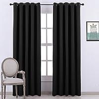 Ponydance® Tende oscuranti per il salotto con occhielli, termo isolanti super morbide, 167cm x 228cm, 1 paio, colore: nero